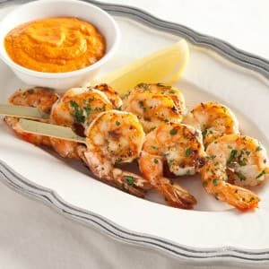 Shrimp Kabobs with Roasted Red Pepper Dip