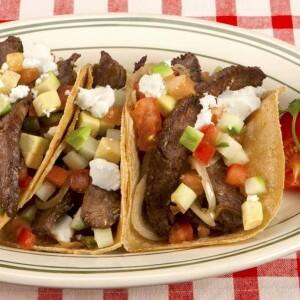 Steak Tacos with Feta Cheese and Avocado Salsa