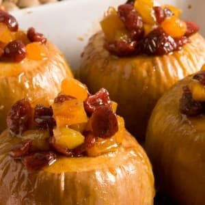 Baked Apples with Dried Fruit and Maple Whipped Cream
