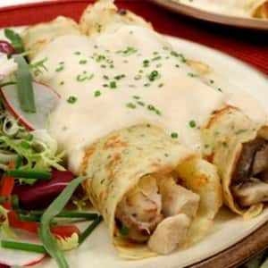 Baked Herbed Crepes with Chicken and Mushrooms