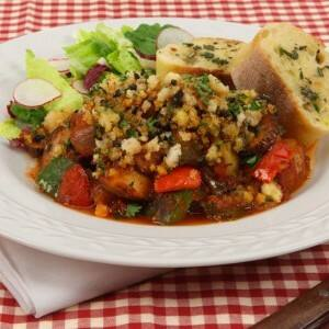 Eggplant and Potato Ragout with Feta Topping