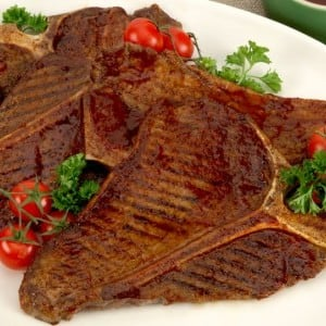 Grilled T-Bone Steak with Barbecue Sauce
