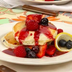 Lemon Ricotta Pancakes with Berry Compote