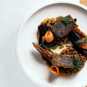 Recipe: Cured Rainbow Trout with Curried Carrot Purée, Buttermilk Sauce and Wheat Berries