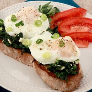Poached Eggs on Spinach-Feta Toast