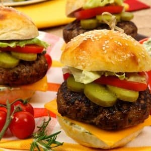Rosemary Beef Burgers with Jalapeno Mayonnaise