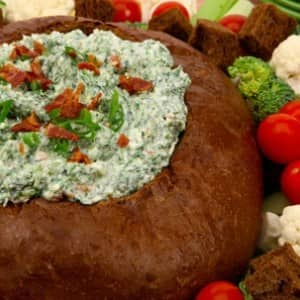 Spinach Dip in a Rye Shell