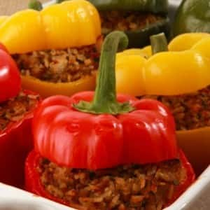 Tempeh and Rice-Stuffed Peppers