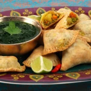 Vegetable Samosas with Fresh Coriander Chutney