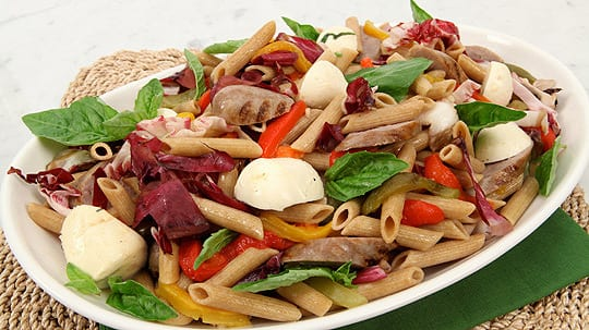 Grilled Sausage, Pepper and Bocconcini Pasta Salad
