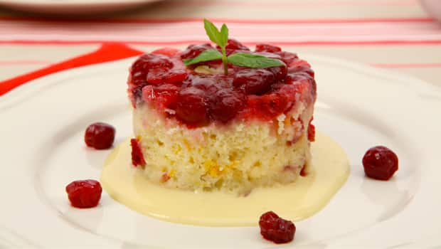 Jewelled Cranberry Puddings with Eggnog Custard Sauce