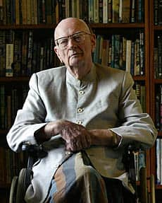 Arthur C. Clarke, photographed in his home library in 2007, had post-polio syndrome, and so used a wheelchair.