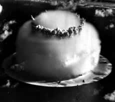 Nuclear explosions, like this U.S. military test in the Marshall Islands in 1946, released isotopes into the environment, permeating the soil and ending up in natural oils used to make paint.