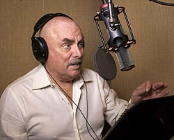 Don LaFontaine records a commercial in the recording studio in his Los Angeles home in February 2007. He was one of Hollywood's most prolific voice actors. (Damian Dovarganes/Associated Press)