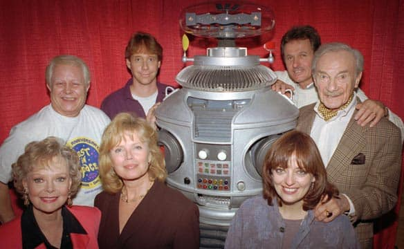 Bob May, back row left, is seen in this 1995 photo with the original cast of the TV series Lost in Space. Joining him (clockwise from May) are Bill Mumy, Mark Goddard, Jonathan Harris, Angela Cartwright, Marta Kristen and June Lockhart.