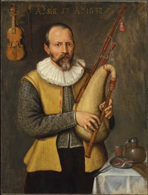 Portrait of a Musician Playing a Bagpipe, by an unknown artist of Northern Netherlandish School. The 1632 oil on wood was restituted in April 2009.