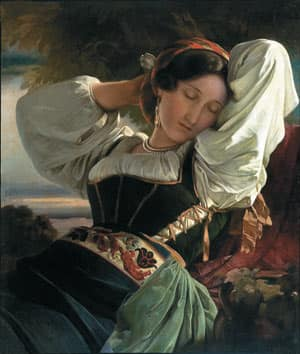 The Girl from the Sabine Mountains, by Franz Xaver Winterhalter (1805-1873) is an oil on canvas that was restituted in January 2008.