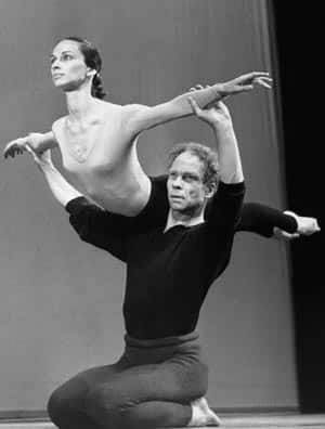 Merce Cunningham lifts Carolyn Brown during rehearsal at Sadler Wells ...