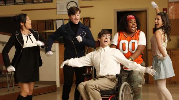 From left, McKinley High students Tina Cohen-Chang (Jenna Ushkowitz), Kurt Hummel (Chris Colfer), Artie Abrams (Kevin McHale), Mercedes Jones (Amber Riley) and Rachel Berry (Lea Michele) demonstrate that anyone can be a star in the musical comedy series Glee.