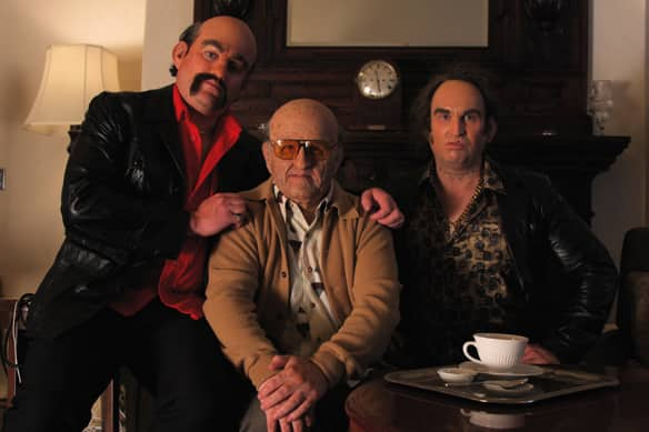 J.P. Tremblay, left, Mike Smith, centre, and Robb Wells as the Brutto Family, three of the many characters they play in their new Showcase series The Drunk and On Drugs Happy Funtime Hour, set to premiere in 2010.