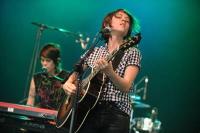 Tegan and Sara perform at the 2008 Bonnaroo Music and Arts Festival in ...