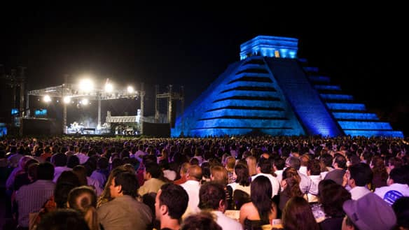 Some 6,000 fans attend Elton John's Saturday concert at the Mayan  ruins of Chichen Itza, Mexico.