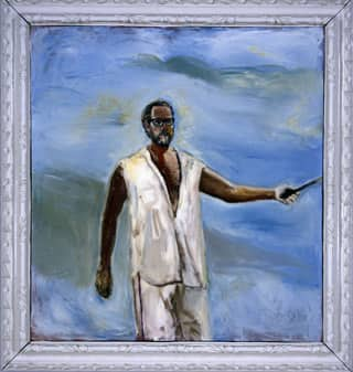 Julian Schnabel Untitled (Self-Portrait) 2005 is part of retrospective of his paintings.