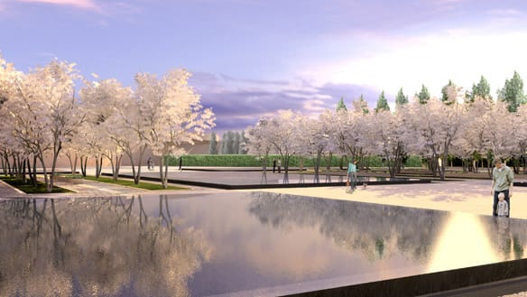 An artist's rendering shows the reflecting pools and formal garden