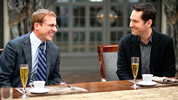 Ambitious executive Tim (Paul Rudd, right) brings Barry (Steve Carell), a dim-witted taxidermist, to his boss's unusual soiree in Dinner for Schmucks.