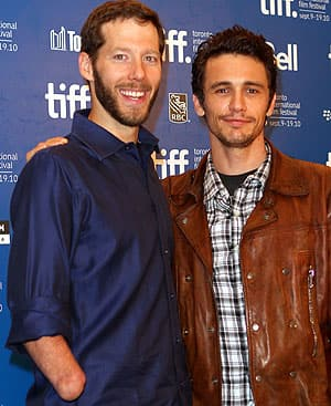 Outdoorsman Aron Ralston, left, poses with actor James Franco at the 127 Hours press conference Sunday during the Toronto International Film Festival.
