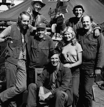 MASH cast, from left: Mike Farrell, Bill Christopher, Harry Morgan, Alan Alda, Loretta Swit, Jamie Farr and David Ogden Stiers. Morgan died on Wednesday.