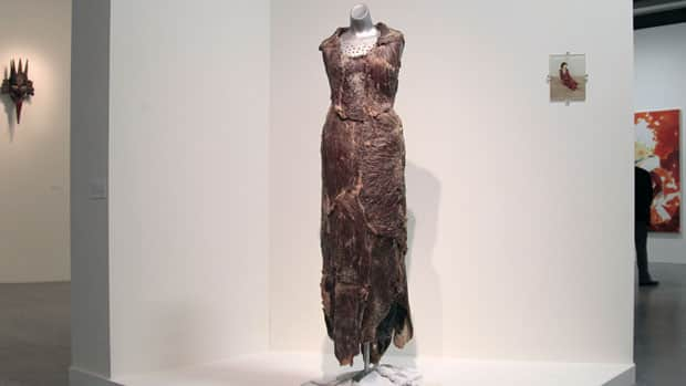 Vanitas: Flesh Dress for an Albino Anorectic, by Jana Sterbak, is displayed in Paris in 2011. Sterbak is one of the 2012 winners of the Governor General's Award for Visual and Media Art.