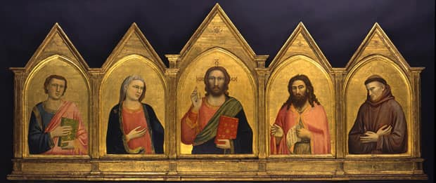 Giotto's five-panel Peruzzi Altarpiece, created 1310-15, is part of the exhibit Revealing the Renaissance: Art in Early Florence at the AGO.