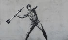 Banksy's javelin thrower is a comment on the London Olympic Games.