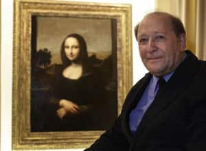 Stanley Feldman, art historian, poses in front of a painting attributed to Leonardo da Vinci, called the Isleworth Mona Lisa.