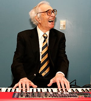 Jazz musician Dave Brubeck plays a keyboard at his induction with 12 other honorees into the 2008 California Hall of Fame at The California Museum on Dec. 15, 2008, in Sacramento, Calif.