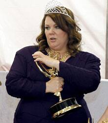 Melissa McCarthy is seen backstage after winning the award for outstanding lead actress in a comedy series.