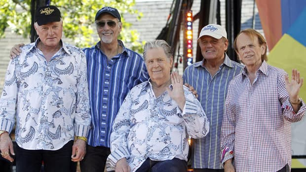 Beach Boys members, from left, Mike Love, David Marks, Brian Wilson, Bruce Johnston and Al Jardine appear on Good Morning America on June 15, part of a 70-date tour.