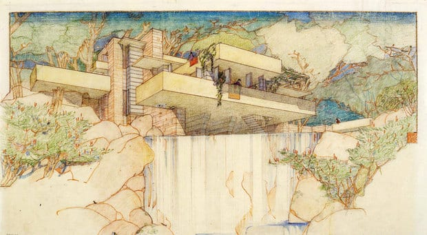 A Frank Lloyd Wright drawing of a house called Fallingwater in Mill Run, Penn. His archive of more than 23,000 architectural drawings and other material is being moved permanently to the Museum of Modern Art and Columbia University's Avery Architectural & Fine Arts Library in New York.