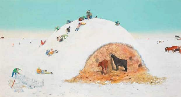 William Kurelek's King of the Mountain, mixed media on board, 1973, was sold at auction Thursday for $380,250, including a buyer's premium.