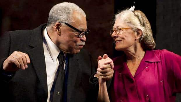 James Earl Jones, left, and Vanessa Redgrave appear at the curtain call for Driving Miss Daisy, which played in New York and in London's West End. They appear together this September in the Old Vic's Much Ado About Nothing.