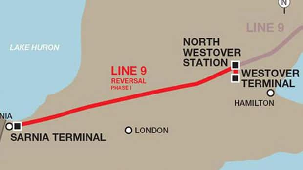 This map shows where Enbridge's Line 9 runs.