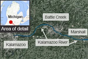 The 2010 Enbridge pipeline spill leaked 3.3 million litres of bitumin crude into the Kalamazoo River in Michigan.
