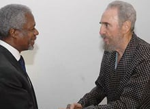 Cuban President Fidel Castro, right, met United Nations Secretary General Koffi Annan in a Havana hospital room on Thursday. (Juventud Rebeld/Associated Press)
