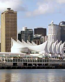 A view of the Vancouver Trade and Convention Centre from the Port of Vancouver.