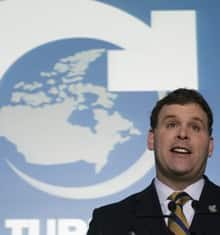 Environment Minister John Baird made ethanol investment and mandates a key part of the federal government's plan for the environment during a news conference in Toronto, in April 2007.