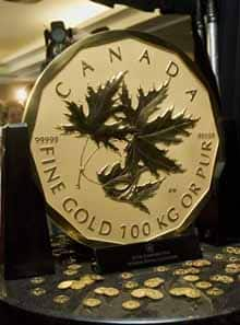 The Royal Canadian Mint displays one of its new 100-kg, pure gold bullion coins.