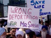 Supporters for Laiber Singh were out in force Wednesday outside the venue where the immigration detention review was being held in Vancouver.