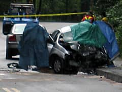 The driver of this car, which collided with a transit bus, was killed in the crash on Friday in Vancouver.