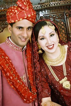Selena Paskalidis (right) and Sadaqat Hussain were married in Pakistan with three traditional ceremonies.